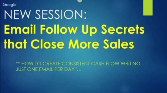 Power Lead System Thursday Training Email Follow Up Secrets for Sales